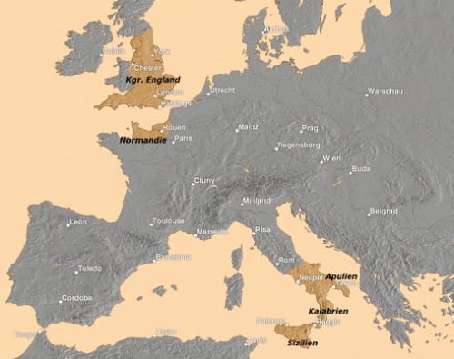 Normannische Gebiete im 11. Jahrhundert